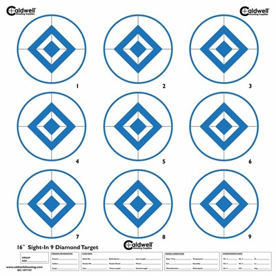 Caldwell Shooting Supplies Sight In Target 9 Diamond, Hi Contrast Blue - Sight In Target, 9 Diamond, Hi Contast Blue, 10pk