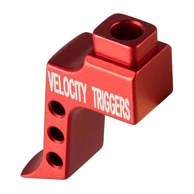 Velocity Triggers Ar-15 Mpc Trigger Shoes - Ar-15 Straight Trigger Shoe W/ Finger Stop Radius Red