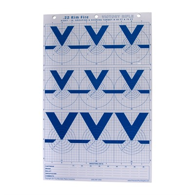 Mountain Plains Industries Hi-Visibility Blue Series Paper Targets - Hi-Visibilty .22 Rimfire Victory Rifle Paper Targets 25-Pk