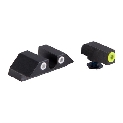 Night Fision Perfect Dot Tritium Night Sights For Glock - Glock 17/19/33/46 Yellow Front & Clear U Notch Rear