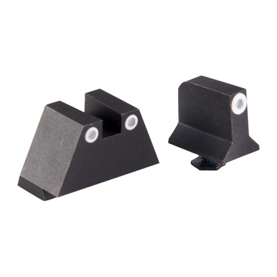 Night Fision Perfect Dot Tritium Night Sights For Glock - Supp Height G17/19 White Front & White Square Notch Rear