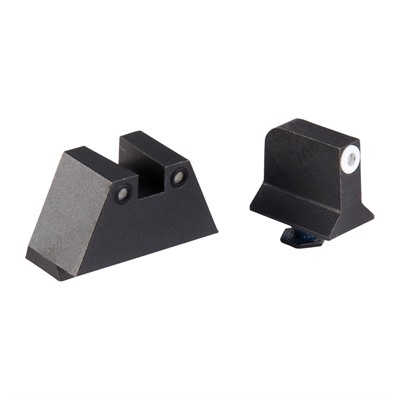 Night Fision Perfect Dot Tritium Night Sights For Glock - Supp Height G17/19 White Front & Black Square Notch Rear
