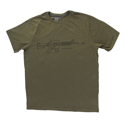 Brownells Fine Cotton Retro Carbine T-Shirts - Fine Cotton Retro Carbine T-Shirt 3x-Large Green