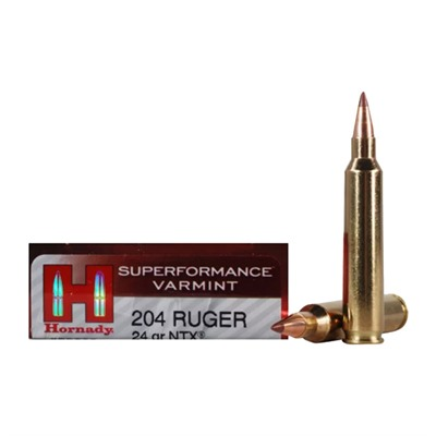 Hornady Superformance Varmint 204 Ruger Ntx Ammo - 204 Ruger 24gr Ntx 20/Box