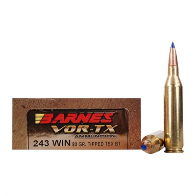 Barnes Vor-Tx 243 Winchester Ammo - 243 Winchester 80gr Tipped Triple-Shock X Bt 20/Box