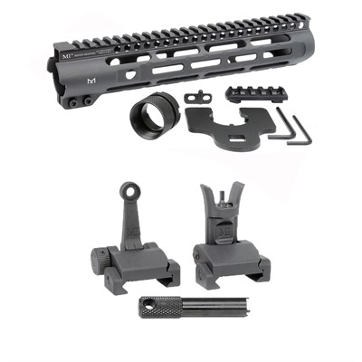 Midwest Industries Ar-15 Slim Line Handguards W/ Flip-Up Combat Sights - 10.5