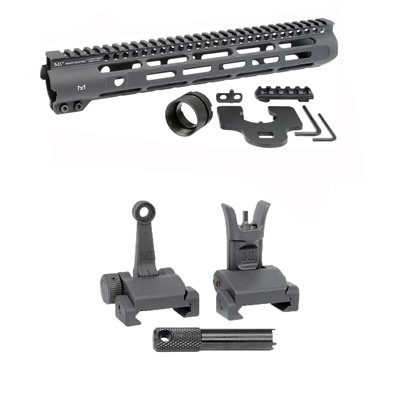 Midwest Industries Ar-15 Slim Line Handguards W/ Flip-Up Combat Sights - 12.625
