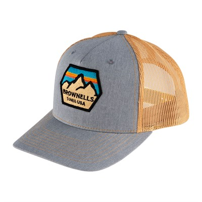 Brownells Snapback 5-Panel Trucker Hat - Light Blue/Gold Richardson Trucker Hat W/ Brownells Patch
