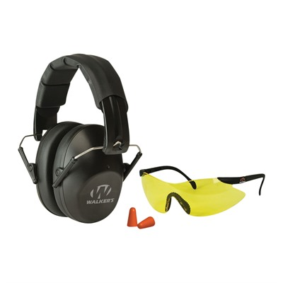 Walkers Game Ear Pro-Low Profile Folding Earmuff & Shooting Glasses Kit