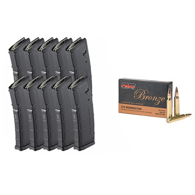 Brownells Bronze .223 Rem 55gr Fmj 1000rd Case With 10x Pmags
