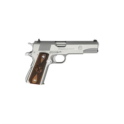 Image of Springfield Armory Mil-Spec Stainless Steel 5in 45 Acp Stainless Wood Fixed 7+1rd