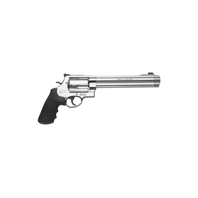 Smith & Wesson 500 8.38in 500 S&W Magnum Satin Ss Black Adj White Outlinerd