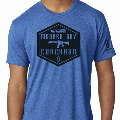 Victory First Men's Shield Style Modern Day Coachgun T-Shirts - Shield Style Modern Day Coachgun Tshirt Vintage Royal Sm