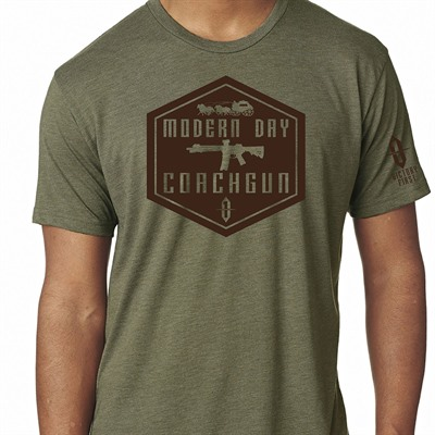 Victory First Men's Shield Style Modern Day Coachgun T-Shirts - Shield Style Modern Day Coachgun Tshirt Military Green Md