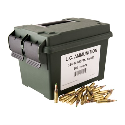 Lake City 5.56x45mm 62gr M855 W/M2a1 Can - 5.56mm Nato M855 Green Tip 62gr 500/Can