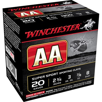 "Aa Shotgun Ammunition - Aa Supersport 20ga 2-3/4"" 7/8oz #8 Shot 25/Box"