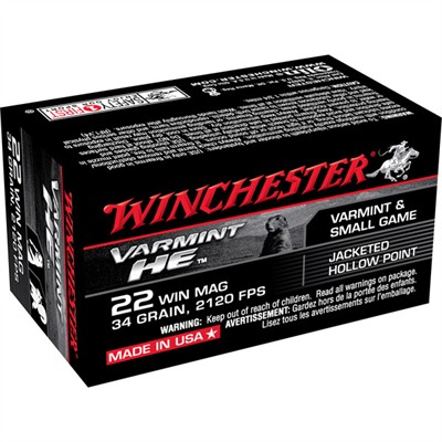 Winchester Varmint He Ammo 22 Magnum (Wmr) 34gr Jacketed Hollow Point - 22 Wmr 34gr Jacketed Hollow Point 50/Box