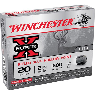 "Super-X Ammo 20 Gauge 2-3/4"" 3/4 Oz Rifled Slug - 20 Gauge 2-3/4"" 3/4 Oz Rifled Slug 15/Bo"