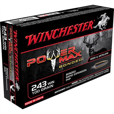 Winchester Power Max Bonded Ammo 243 Winchester 100gr Bonded