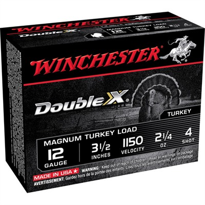 "Winchester Double X Turkey Ammo 12 Gauge 3-1/2"" 2-1/4 Oz #4 Shot"