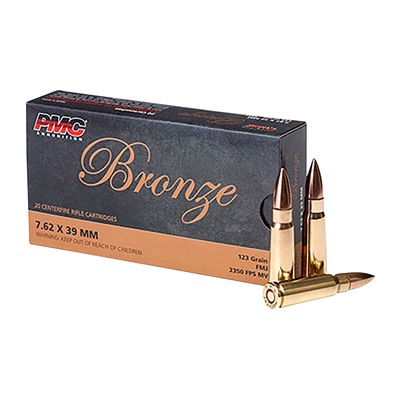 Bronze Ammo 7.62x39mm 123gr Fmj - 7.62x39mm 123gr Full Metal Jacket 20/Box