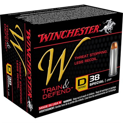 Winchester Train & Defend Ammo 38 Special 130gr Jhp 38 Special 130gr Jacketed Hollow Point 20/Box
