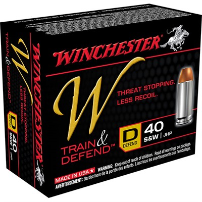 Winchester Train & Defend Ammo 40 S&W 180gr Jhp 40 S&W 180gr Jacketed Hollow Point 200/Case USA & Canada