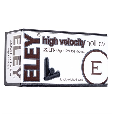 Eley Americas High Velocity Hollow Ammo 22 Long Rifle 38gr Lead Hollow Point - 22 Long Rifle 38gr High Velocity Lead Hp 500/Brick