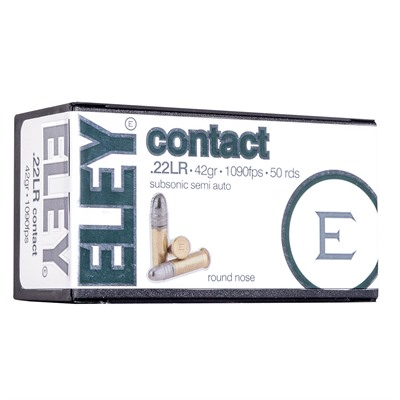Eley Americas Contact Ammo 22 Long Rifle 42gr Subsonic Lead Round Nose 500/Brick USA & Canada