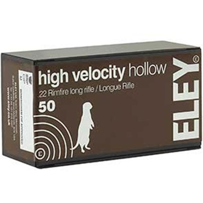 Eley Americas High Velocity Hollow Ammo 22 Long Rifle 38gr Lead Hollow Point - 22 Long Rifle 38gr High Velocity Lead Hollow Point 50/Box