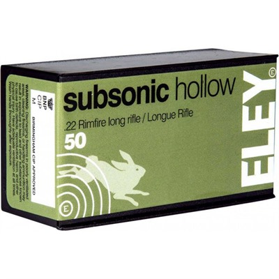Eley Americas Subsonic Hollow Ammo 22 Long Rifle 40gr Lead Hollow Point - 22 Long Rifle 40gr Subsonic Lead Hollow Point 50/Box