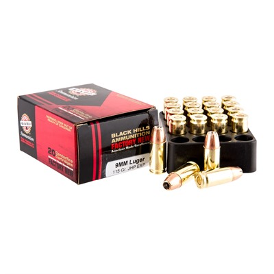Black Hills Ammunition 9mm Luger 115gr Extra Power Hollow Point Ammo - 9mm Luger 115gr Extra Power Hp 20/Box
