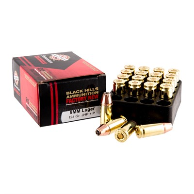 Black Hills Ammunition 9mm Luger +p 124gr Jacketed Hollow Point Ammo - 9mm Luger +p 124gr Jhp 20/Box