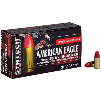 American Eagle Syntech Ammo 9mm Luger 115gr Tsj - 9mm Luger 115gr Total Synthetic Jacket 50/Box