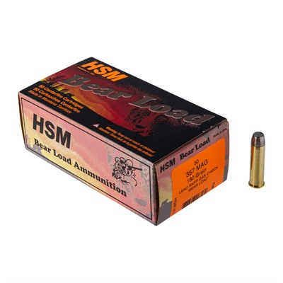 Hsm Ammunition Bear Load 357 Magnum Ammo - 357 Magnum 180gr Lead Rnfp Gas Check 50/Box