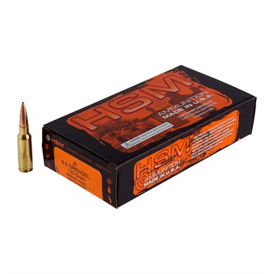 Hsm Ammunition Match 6.5 Grendel Ammo - 6.5mm Grendel 123gr Hollow Point Boat Tail 20/Box