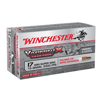 Winchester Varmint X Lead Free 17 Winchester Super Magnum Ammo - 17 Wsm 15gr Polymer Tip Rapid Expansion 50/Box