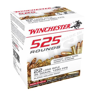 Winchester Usa White Box 22 Long Rifle Ammo 22 Long Rifle 36gr Copper Plated Hollow Point 525 Box