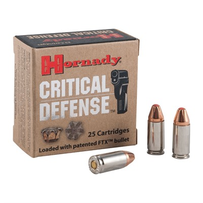 Hornady Critical Defense Ammo 9mm Luger 115gr Ftx - 9mm Luger 115gr Flex Tip Expanding 250/Case