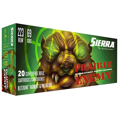 Sierra Bullets Prairie Enemy 223 Remington Ammo - 223 Remington 69gr Blitzking 20/Box
