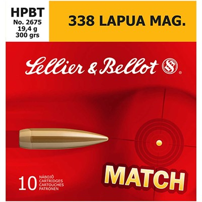 Sellier & Bellot 338 Lapua Magnum 300gr Hpbt Ammo - 338 Lapua Magnum 300gr Hollow Point Boat Tail 10/Box