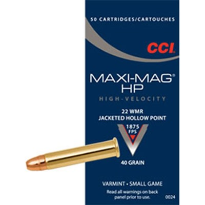 Maxi-Mag Hp Ammo 22 Magnum (Wmr) 40gr Jacketed Hollow Point - 22 Magnum (Wmr) 40gr Jacketed Hollow P