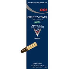 Green Tag Ammo 22 Long Rifle 40gr Lead Round Nose - 22 Long Rifle 40gr Lead Round Nose 100/Box