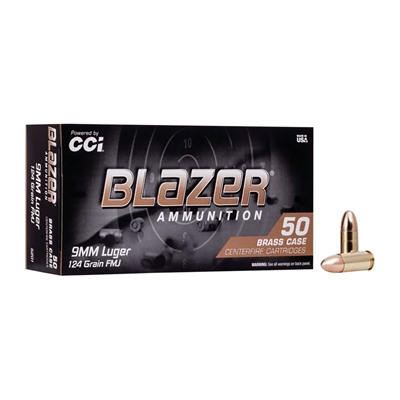 Cci Blazer Brass Handgun Ammunition - 9mm Luger 124gr Fmj 50/Box