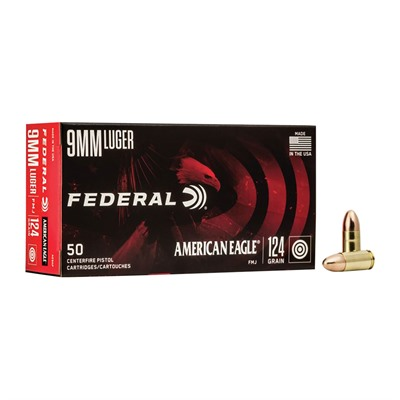 American Eagle Ammo 9mm Luger 124gr Fmj Ammo Can - 9mm Luger 124gr Full Metal Jacket 50/Box