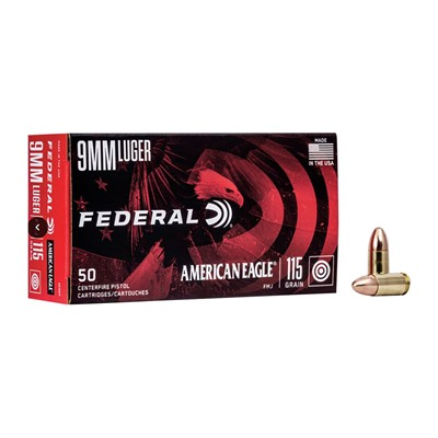 American Eagle Ammo 9mm Luger 115gr Fmj Ammo Can - 9mm Luger 115gr Full Metal Jacket 50/Box