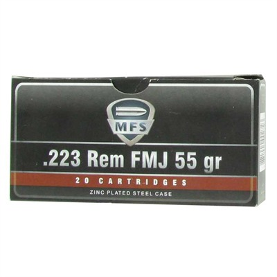 Mfs Zinc-Plated Rifle Ammunition - Mfs Ammo 223 Rem 55gr Fmj Steel Case 20bx