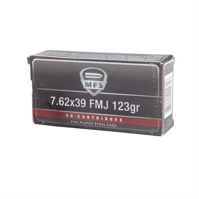 Mfs Zinc-Plated Rifle Ammunition - Mfs Ammo 762 X 39 123gr Fmj Steel Case 20bx