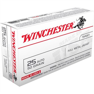 Winchester Usa White Box Ammo 25 Acp 50gr Fmj 25 Acp 50gr Full Metal Jacket 50 Box