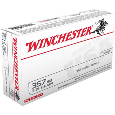 Winchester White Box Ammo 357 Sig 125gr Fmj Rn 357 Sig 125gr Full Metal Jacket Round Nose 50/Box